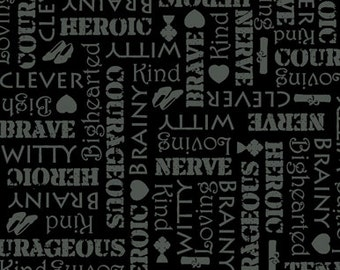 Half Yard Wizard of Oz - Words Blender in Black - 75 Years of Wickedness - Cotton Quilt Fabric - Quilting Treasures (W1711)