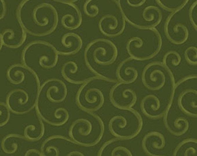 Half Yard Christmas Pure & Simple - Scrolls in Hunter Green - Cotton Quilt Fabric - Nancy Halvorsen - Benartex - Pure and Simple (W1757)