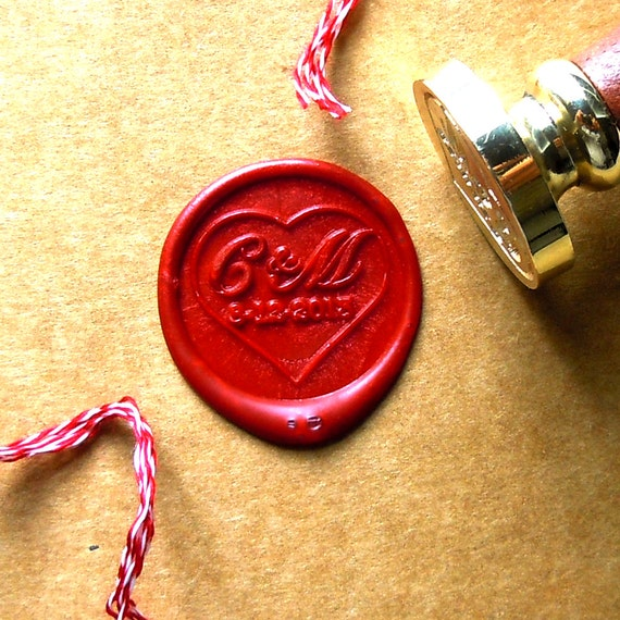 Wax Seal Stamp Monogram Initials Stamps With Date Custom