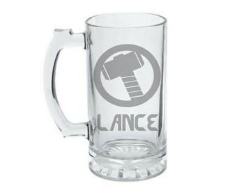 Thor Mug - PERSONALIZED Thor Mug - ETCHED Thor Glass - Geeky Glassed Mug