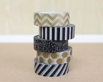 Washi Tape Set of 5 - Black & Gold - 9003/9002/9012/M01/M07