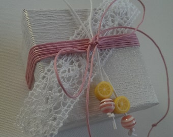 White paper box favor/bomboniere - Pink Lemonade