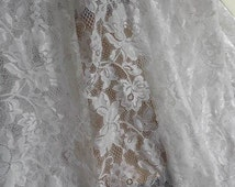 Off white Lace Fabric, Fascinating Roses Florals Fabric, Soft Tulle Wedding Lace Fabric By Yard