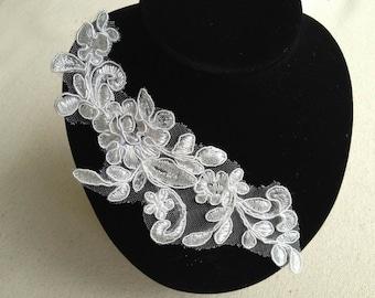 Alencon Lace Appliqué Ivory Floral Embroidered Applique For Wedding Supplies Bridal Hair Flower Headpiece