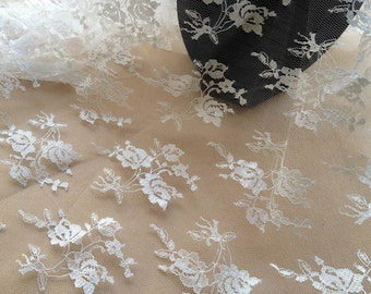 White Tulle Lace Fabric, Embroidery Floral Lace, Wedding Lace Fabric, White Floral Dress Fabric By the Yard