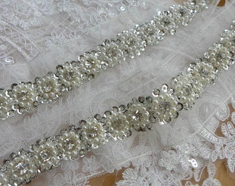 Stunning Ivory Pearl and Rhinestone Beaded Trim with Sequins for Bridal Gowns, Belt, Headbands