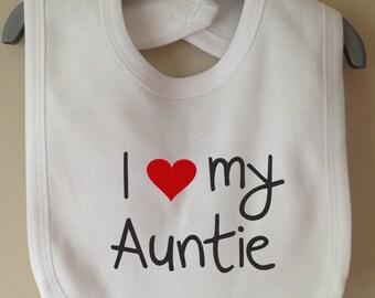 I love my auntie baby bib