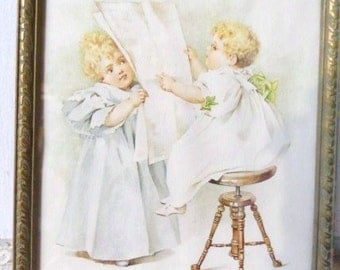 MAUD HUMPHREY: The News of the Day- Circa 1989- Lithograph Art Print in Frame- Estate Find- Darling Subject Matter- Soft Pastels