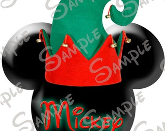 Fish in a santa hat etsy digital do it yourself printable elf hat christmas mickey head file personalized for you solutioingenieria Images
