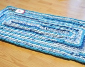 RAG RUG, Ocean Waters- Crochet Area Rug, Eco Friendly, UpCycled, Recycled, Blessed Country Mommie, One Blessed mommie, OBM, Bath Mat