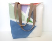 dyed tote, reversible bag with geometric design and nylon color blocking, one of a kind