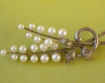 GENUINE MIKIMOTO PEARL Sterling Silver Hallmarked Brooch