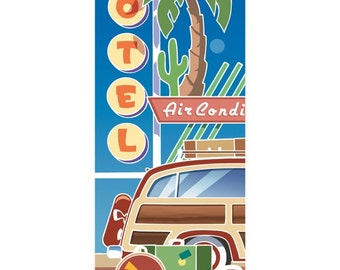 Motel Vacation Woody Wagon Wall Decal #48275