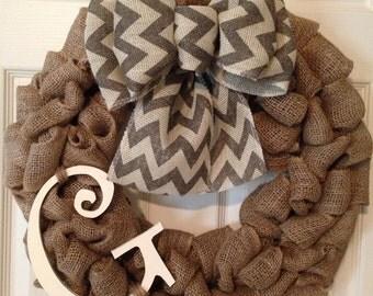 CHEVRON BURLAP WREATH with Initial, Summer Wreath, Spring Wreath, Wedding Gift, Burlap Wreath , Front Door Wreath
