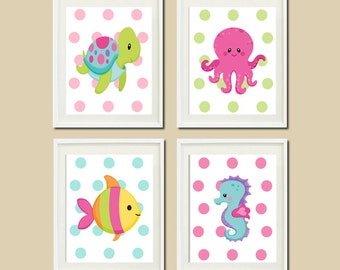 Baby Girl Nautical Ocean Sea Animals WALL ART Turtle Seahorse Octopus Fish Set of 4 Prints Or Canvas Girl Nursery Decor Girl Bathroom Art