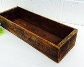 Rustic Style Brown Kraft Cheese Wooden Box Crate Farmhouse Cottage Primitive Storage Container Vintage Home Decor Housewares Collectible