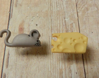 Mouse And Cheese Repurposed Nickel free Post Earrings