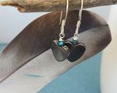 Heart Earrings -Drop Earrings -Dangle Stone Earrings -Hematite Love Hearts-Blue Faceted Crystal -Blue Grey Earring -Gift for Her -Love Heart