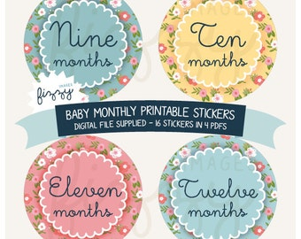 16x Baby Monthly Milestone Stickers Floral Girl Printable Instant Download - Digital file only. BM0012