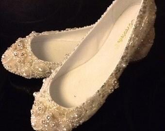 Plus Size 11,12,13 Custom Made Wedding Shoes Bridal Flats Beaded Rhinestones Hand Embellished