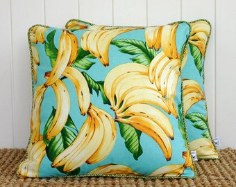 """Blue Banana Cushion or Pillow Cover with piping 