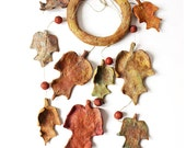 Paper mache autum leaves mobile - ThePaperMoonFactory