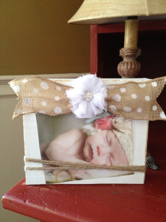 Distressed White Burlap Bow Wood Picture Frame