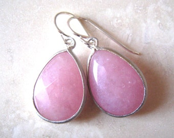 Pink Silver Earrings,  Teardrop, Pink Earrings, Sterling Silver Wires