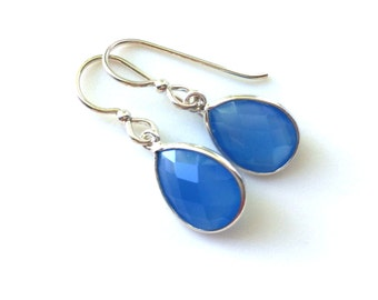 Blue Chalcedony Tear Drop Sterling Earring, Teardrop, Blue Chalcedony Earring,