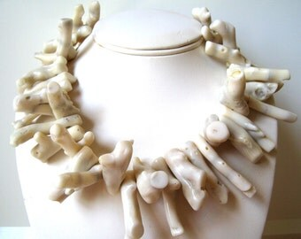 White Coral Necklace, Large Off White Coral Branch Necklace, Beach Wedding Jewelry