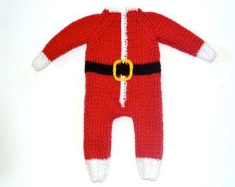 Hand Knitted Baby Santa Romper, %100 Wool