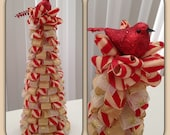 Festive Ribbon Christmas Tree with Red Bird