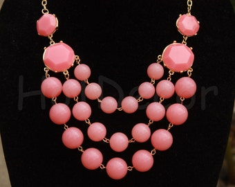 Pink Statement necklaces Bib necklace Bubble Necklace Beaded Necklace Pink Chunky necklace statement jewelry for women holiday jewelry