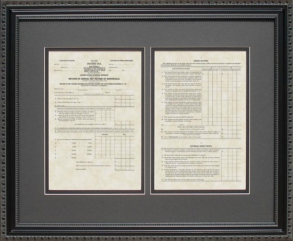 Wedding Gift Tax: IRS Form 1040 From 1913 Framed Art Tax Advisor Accountant