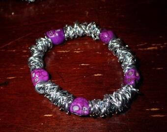 Fuchsia skull bracelet