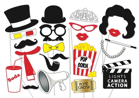 50s theme party free decorations printables - Party Props Set 23 Piece Printable Movie Night Party Photo Booth