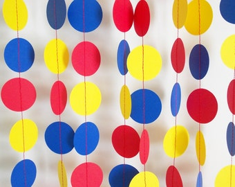 Paper Garland Red Yellow & Blue Party Decor All Occasion Birthday  12'