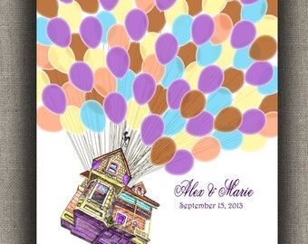 WEDDING Guestbook Alternative Flying House with 90 Balloons for Guest Signatures / Personalized  Print