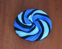 Crocheted Light and Navy Blue Striped Face Scrubbie
