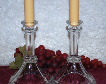 """2 Pc. Set Of 6"""" Octagon Clear Cut Tapered Glass Candlestick With Ribbed Center Post"""