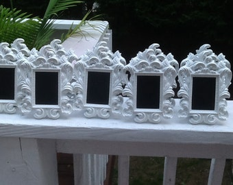 White Ornate Chalkboard Table Number Frames / Set of 5 Baroque Place Setting Signs / Framed Chalk Boards