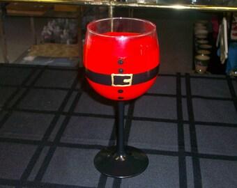 Hand Painted,Santa suit wine glasses, set of 4