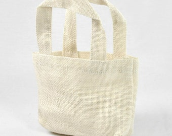 """5"""" x 5"""" x 2"""" Off White Burlap Tote Bags (12 Pack)"""