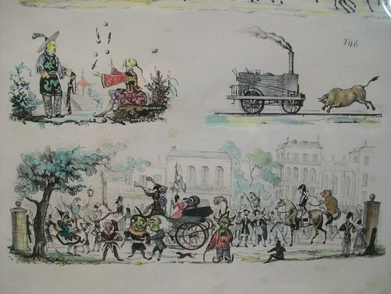 19th Century British Caricature Cartoon Satire John Bull Locomotive Street Scenes Hand Colored Engraving