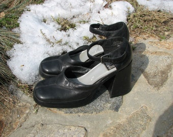 Vintage 1990s 9&Co Womens Shoes - Chunky Heel shoes - Size 7.5 Shoes