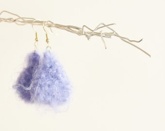 Small drops knitted earrings fluffy purple lavendar yarn