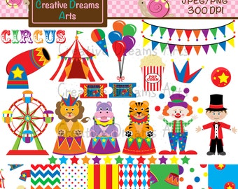 40% Off! Little Circus Clipart Instant download