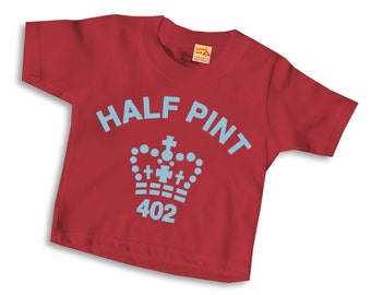 Half Pint T shirt for Son or Daughter - Red and Pale Blue