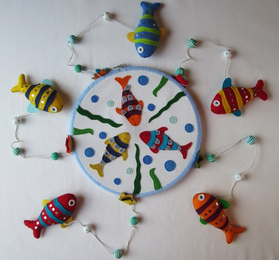 Items similar to fish baby mobile 2 in 1 unique handmade for Unusual baby mobiles