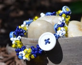 SALE Bracelet: Crocheted Navy Blue S-Lon Cord with White, Blue, & Yellow Circular Beads and Seed Beads